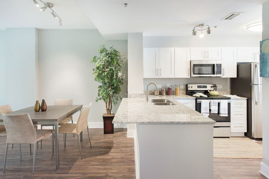 Apartments at Rosemary Square West Palm Beachdining room and kitchen