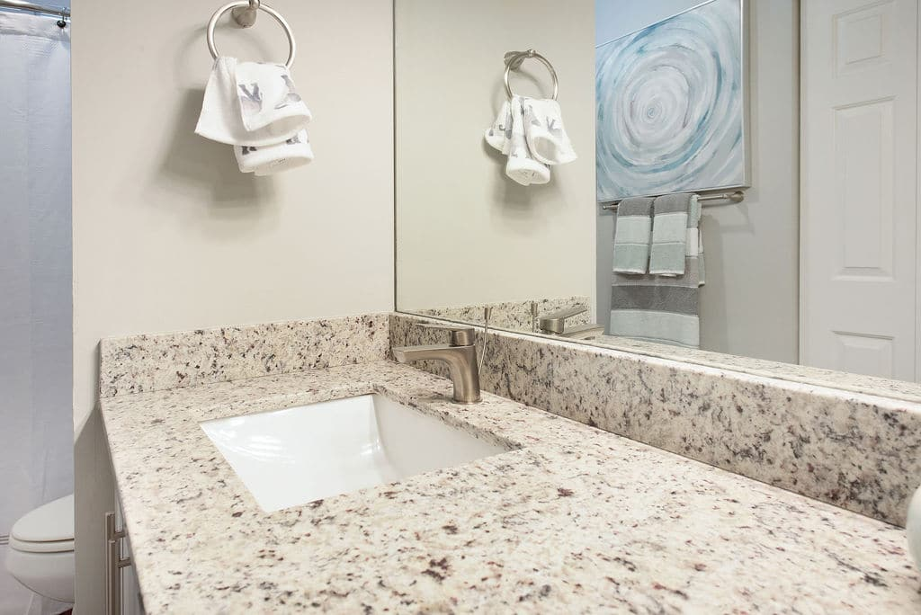 Apartments at Rosemary Square West Palm Beach white modern bathroom