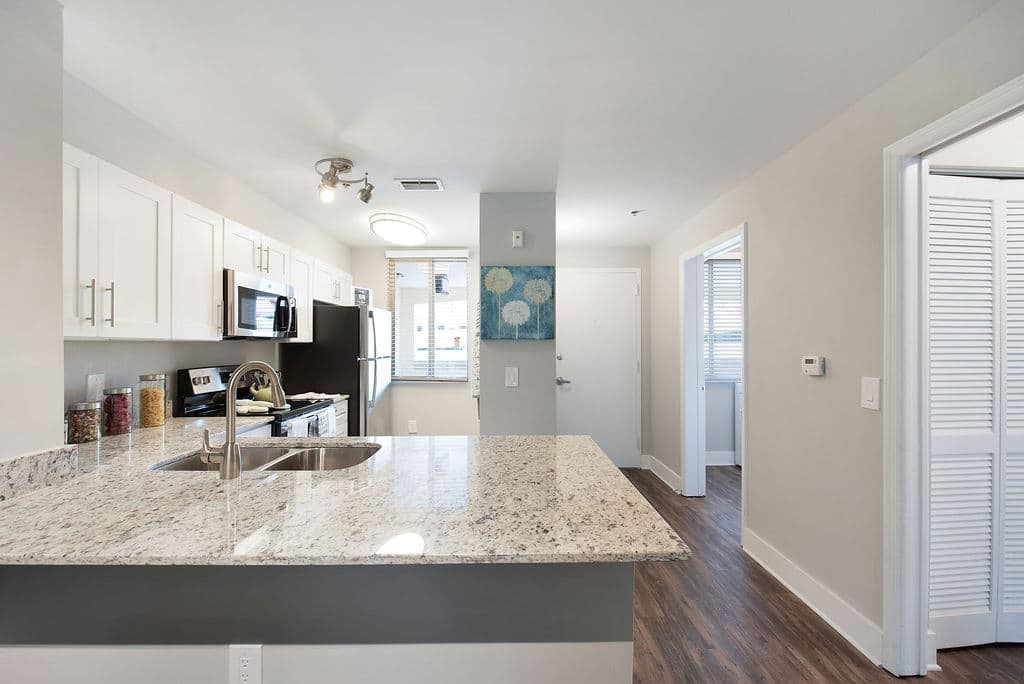 Apartments at Rosemary Square West Palm Beach modern kitchen counter tops