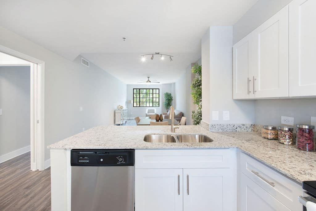 Apartments at Rosemary Square West Palm Beach white modern kitchen